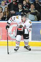 KELOWNA, CANADA - NOVEMBER 4:  Brad Ross #18 of the Portland Winterhawks skates on the ice at the Kelowna Rockets at Prospera Place on November 4, 2011 (Photo by Marissa Baecker/Shoot the Breeze) *** Local Caption ***Brad Ross;