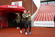 Leeds United midfielder Ezgjan Alioski (10) and Leeds United midfielder Pablo Hernandez (19) inspecting the pitch during the EFL Sky Bet Championship match between Stoke City and Leeds United at the Bet365 Stadium, Stoke-on-Trent, England on 19 January 2019.