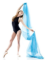 one caucasian woman dancer dancing in studio isolated on white background