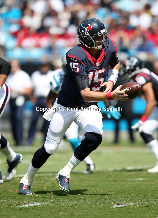 Houston Texans quarterback Ryan Mallett (15) hands off the ball on a running play during the 2015 NFL week 2 regular season football game against the Carolina Panthers on Sunday, Sept. 20, 2015 in Charlotte, N.C. The Panthers won the game 24-17. (©Paul Anthony Spinelli)