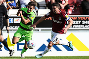 Forest Green Rovers Liam Shephard(2) and Northampton Towns David Buchanan(3) during the EFL Sky Bet League 2 match between Northampton Town and Forest Green Rovers at Sixfields Stadium, Northampton, England on 13 October 2018.