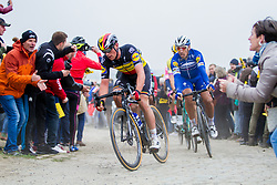 Rider of Deceuninck - Quick Step (BEL,WT,Specialized) during the 2019 Paris-Roubaix (1.UWT) with 257 km racing from Compiègne to Roubaix, France. 14th April 2019. Picture: Thomas van Bracht | Peloton Photos<br /> <br /> All photos usage must carry mandatory copyright credit (Peloton Photos | Thomas van Bracht)