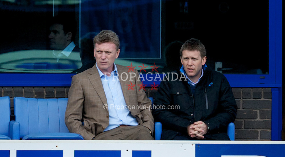 LIVERPOOL, ENGLAND - Tuesday, March 6, 2012: Everton's manager David Moyes watches his reserve side take on Liverpool during the FA Premier Reserve League match at Goodison Park. (Pic by David Rawcliffe/Propaganda)