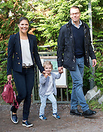 Prince Daniel, Duke of Vastergotland and Crown Princess Victoria of Sweden attend a photocall on Princess Estelle's first day at pre-school in Stockholm, Sweden