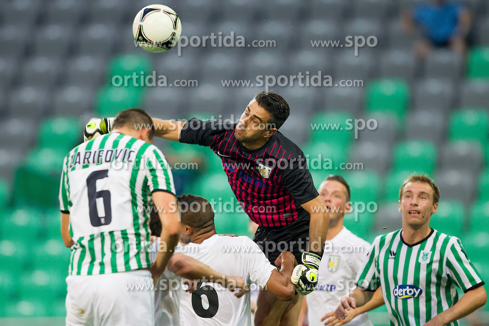 Aris Zarifovic of Olimpija vs Marc Oberweis of Jeunesse Esch  during football match between NK Olimpija Ljubljana and AS Jeunesse Esch (LUX) in 1st Leg of UEFA Europa League 2013  1st  Qualifying Round, on July 5, 2012 in SRC Stozice, Ljubljana, Slovenia. (Photo by Vid Ponikvar / Sportida.com)