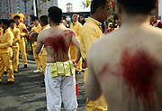 PUTIAN, CHINA - FEBRUARY 20: <br /> <br /> Mans back Beaten With Thorny Iron Ball during Ceremony <br /> <br /> Villagers in Putian hold the \&quot;Da Tie Qiu\&quot; event on Feb 24 in lunar calendar to commemorate Qi Jiguang, a national hero in Ming dynasty. During the event, selected unmarried men baring their upper bodies and feet sit on the knife-made palanquins and beat their backs with thorny iron balls. Beating back with an iron ball stuck with 360 steel nails is said to encourage men to guard the safety of their home and country. <br /> &copy;Exclusivepix Media
