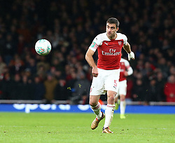 December 19, 2018 - London, England, United Kingdom - London, UK, 19 December, 2018.Sokratis Papastathopoulos of Arsenal .during Carabao Cup Quarter - Final between Arsenal and Tottenham Hotspur  at Emirates stadium , London, England on 19 Dec 2018. (Credit Image: © Action Foto Sport/NurPhoto via ZUMA Press)