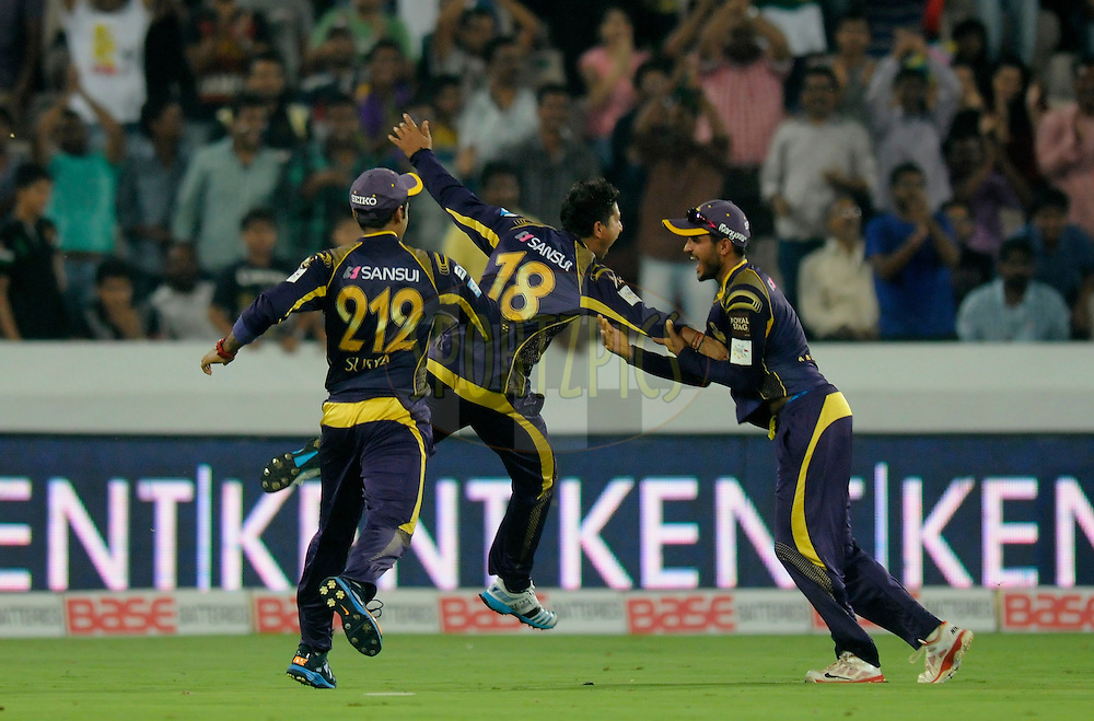 Kuldeep Yadav of Kolkata Knight Riders celebrates after completing a catch to get the wicket of Nathan Coulter-Nile of Perth Scorchers of his own bowling during match 10 of the Oppo Champions League Twenty20 between the Kolkata Knight Riders and the Perth Scorchers held at the Rajiv Gandhi Cricket Stadium, Hyderabad, India on the 24th September 2014<br /> <br /> Photo by:  Pal Pillai / Sportzpics/ CLT20<br /> <br /> <br /> Image use is subject to the terms and conditions as laid out by the BCCI/ CLT20.  The terms and conditions can be downloaded here:<br /> <br /> http://sportzpics.photoshelter.com/gallery/CLT20-Image-Terms-and-Conditions-2014/G0000IfNJn535VPU/C0000QhhKadWcjYs