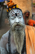 Sadhus, or hindu holy man,Ghats of Varanasi along the banks of the River Ganges.