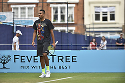 June 20, 2018 - London, United Kingdom - Nick Kyrgios during a training session on day three of Fever Tree Championships at Queen's Club, London on June 20, 2018. (Credit Image: © Alberto Pezzali/NurPhoto via ZUMA Press)