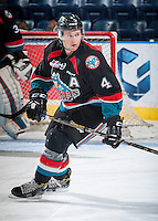 KELOWNA, CANADA - SEPTEMBER 9: Gordie Ballhorn #4 of Kelowna Rockets warms up against the Kamloops Blazers on September 9, 2016 at Prospera Place in Kelowna, British Columbia, Canada.  (Photo by Marissa Baecker/Shoot the Breeze)  *** Local Caption *** Gordie Ballhorn;