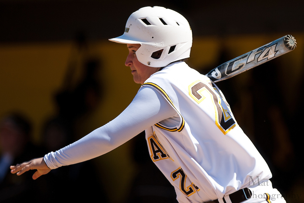 Rowan University senior outfielder Casey Roselle (23) bats during the second game of a double header vs Swarthmore College.