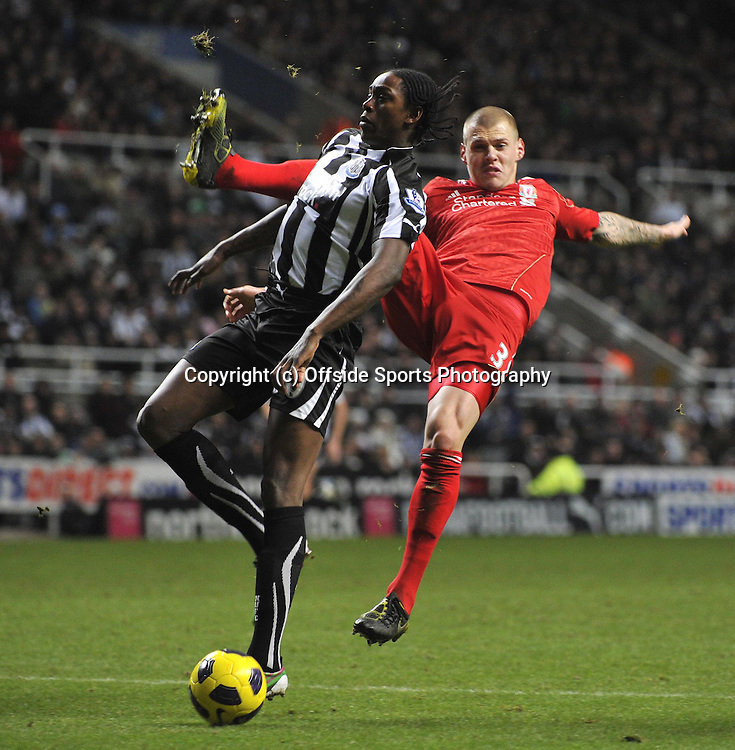 11/12/2010 Newcastle United v Liverpool<br />Nile Ranger and Martin Skrtel<br />Credit Roy Beardsworth<br />COPYRIGHT OFFSIDE SPORTS PHOTOGRAPHY