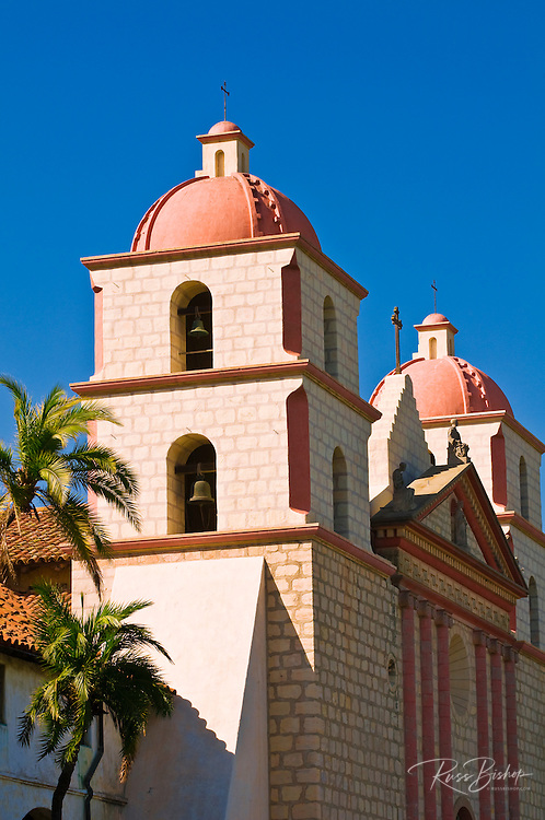 Bell towers and palms at the Santa Barbara Mission (Queen of the missions), Santa Barbara, California