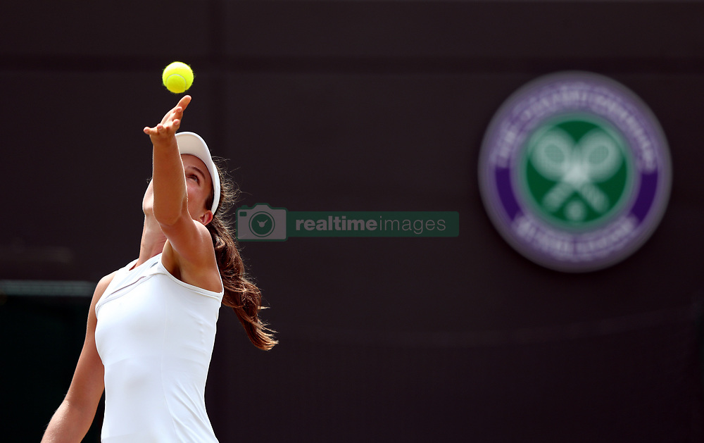 Johanna Konta warms up for her match against Caroline Garcia on day seven of the Wimbledon Championships at The All England Lawn Tennis and Croquet Club, Wimbledon.