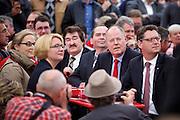 Frankfurt am Main | 21.09.2013<br /> <br /> Endspurt-Kundgebung auf dem Frankfurter R&ouml;merberg zum Landtagswahlkampf der SPD (Sozialdemokratische Partei Deutschlands) 2013, hier: <br /> Thorsten Sch&auml;fer-G&uuml;mbel, Peer Steinbr&uuml;ck, Ralf Heider, nn, Dr. Annette G&uuml;mbel (v.r.).<br /> <br /> ABDRUCK/NUTZUNG HONORARPFLICHTIG!<br /> <br /> &copy;peter-juelich.com<br /> <br /> [No Model Release | No Property Release]