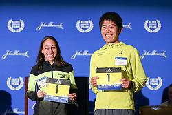 press conference Des Linden, Yuki Kawauchi, defending champions Boston Marathon weekend