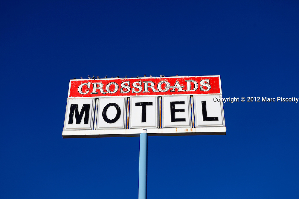 SHOT 12/30/11 4:37:19 PM - Sign for the Crossroads Motel on Central Avenue in Albuquerque, N.M. The hotel was the featured in the AMC series Breaking Bad. Breaking Bad is an American television drama series created and produced by Vince Gilligan. Set and produced in Albuquerque, New Mexico. (Photo by Marc Piscotty /  © 2012)