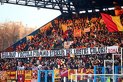 "Foto LaPresse/Filippo Rubin<br /> 16/03/2019 Ferrara (Italia)<br /> Sport Calcio<br /> Spal - Roma - Campionato di calcio Serie A 2018/2019 - Stadio ""Paolo Mazza""<br /> Nella foto: I TIFOSI DELLA ROMA<br /> <br /> Photo LaPresse/Filippo Rubin<br /> March 16, 2019 Ferrara (Italy)<br /> Sport Soccer<br /> Spal vs Roma - Italian Football Championship League A 2018/2019 - ""Paolo Mazza"" Stadium <br /> In the pic: ROMA SUPPORTERS"