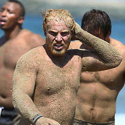 DURBAN, SOUTH AFRICA, December 10. 2015 - Sias Koen during The Cell C Sharks Pre Season Beach South Beach training for the 2016 Super Rugby Season . (Photo by Steve Haag)<br /> images for social media must have consent from Steve Haag