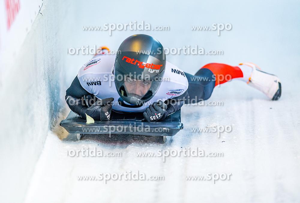 17.01.2020, Olympia Eiskanal, Innsbruck, AUT, BMW IBSF Weltcup Bob und Skeleton, Igls, Skeleton, Damen, 2. Lauf, im Bild Janine Flock (AUT) // Janine Flock of Austria reacts after her 2nd run of women's Skeleton competition of BMW IBSF World Cup at the Olympia Eiskanal in Innsbruck, Austria on 2020/01/17. EXPA Pictures © 2020, PhotoCredit: EXPA/ Stefan Adelsberger