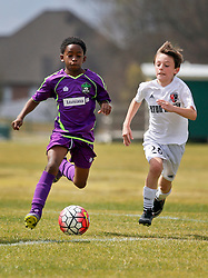 28 February 2016. Burbank Soccer Complex, Baton Rouge, Louisiana.<br /> New Orleans Jesters Youth Academy U10 Purple vs BRSC Brizuela. Jesters lose 1-9.<br /> Photo©; Charlie Varley/varleypix.com