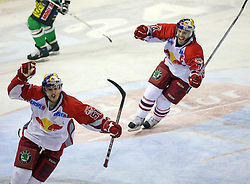 Matthias Trattnig and Dieter Kalt (74) of Salzburg celebrate goal at sixth game of the Final of EBEL league (Erste Bank Eishockey Liga) between ZM Olimpija vs EC Red Bull Salzburg,  on March 25, 2008 in Arena Tivoli, Ljubljana, Slovenia. Red Bull Salzburg won the game 3:2 and series 4:2 and became the Champions of EBEL league 2007/2008.  (Photo by Vid Ponikvar / Sportal Images)..