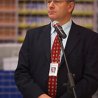 Mihaly Hardy spokesman of Tesco Hungary speaks before the opening of the new Tesco store in Central Europe's largest shopping center Arena Plaza in Budapest. Budapest, Hungary. Wednesday, 14. November 2007. ATTILA VOLGYI