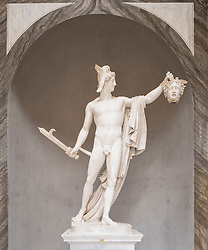 The Vatican Museum, Marble statue of Perseus holding severed head of Medusa by Antonio Canova, Rome, Italy