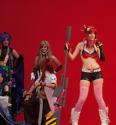 The parade of contestants and cosplayers held first day of the World Cosplay Summit, in Osu Kanon, Nagoya, Japan. Right: Yoko Ritona from Tengen Toppa Gurren-Lagann.