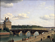 View of Pont Royal and Quai Voltaire, Paris, 1812' oil on canvas by Christoffer Wilhelm Eckersberg (1785-1853) Danish painter.  Bridge over the River Seine linking the Right Bank at the Pavillion Flore with the Left Bank.