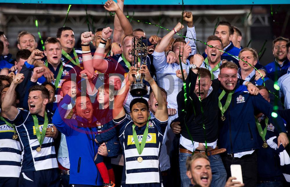 Bristol Rugby Winger David Lemi (capt) lifts the Greene King IPA Championship trophy as Bristol win promotion to the Aviva Premiership  - Mandatory byline: Joe Meredith/JMP - 25/05/2016 - RUGBY UNION - Ashton Gate Stadium - Bristol, England - Bristol Rugby v Doncaster Knights - Greene King IPA Championship Play Off FINAL 2nd Leg.