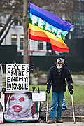 Brian Haw, a veteran peace protestor at parliament square in London, UK. Brian has been protesting at the square since 2001.