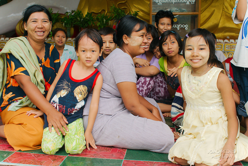 Children sitting at a kindergaten at a pagoda in mandalay