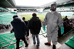 "04.04.2016, Geoffroy Guichard Stadium, Saint- Etienne, FRA, UEFA Euro, Sicherheitsübung, im Bild Sicherheitsübung nach einem angenommen Chemischen Angriff auf das EM Stadion für die Fussballeuropameisterschaft in Frankreich. // Firemen wearing chemical protective clothing attend to ""victims"" during a chemical attack mock exercice during a training as part of the security measures set for the Euro 2016 football championships at the Geoffroy Guichard Stadium in Saint- Etienne, France on 2016/04/04. EXPA Pictures © 2016, PhotoCredit: EXPA/ Pressesports/ MARTIN ALEX<br /> <br /> *****ATTENTION - for AUT, SLO, CRO, SRB, BIH, MAZ, POL only*****"