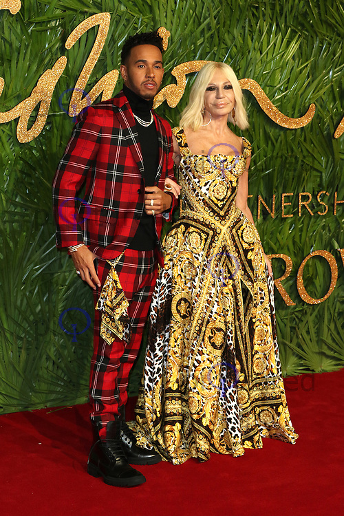 Lewis Hamilton, Donatella Versace, The Fashion Awards 2017, The Royal Albert Hall, London UK, 04 December 2017, Photo by Richard Goldschmidt