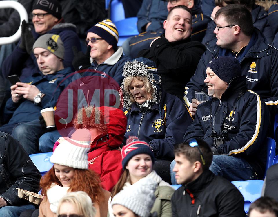 Worcester Warriors fans - Mandatory byline: Robbie Stephenson/JMP - 07/02/2016 - FOOTBALL - Madejski Stadium - Reading, England - London Irish v Worcester Warriors - Aviva Premiership