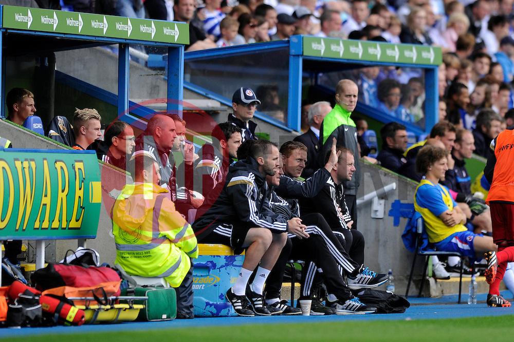 Swansea City Manager, Garry Monk sat in dug out - Photo mandatory by-line: Dougie Allward/JMP - Mobile: 07966 386802 02/08/2014 - SPORT - FOOTBALL - Reading - Madejski Stadium - Reading v Swansea - Pre-Season Friendly