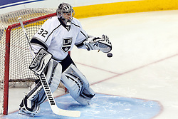 Dec 23, 2011; San Jose, CA, USA; Los Angeles Kings goalie Jonathan Quick (32) warms up before the game against the San Jose Sharks at HP Pavilion. Mandatory Credit: Jason O. Watson-US PRESSWIRE