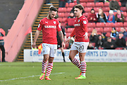 Barnsley Forward, Adam Armstrong (32) and Barnsley Midfielder, Ryan Kent (40)  during the EFL Sky Bet Championship match between Barnsley and Preston North End at Oakwell, Barnsley, England on 4 February 2017. Photo by Mark Pollitt.