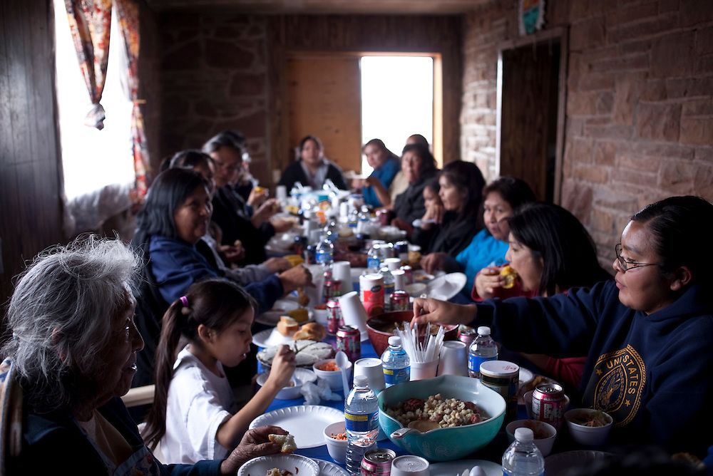 Family and friends attending the engagement ceremony feasted on hominy stew.