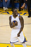 Golden State Warriors forward Draymond Green (23) reacts to a play during Game 1 of the NBA Finals against the Cleveland Cavaliers at Oracle Arena in Oakland, Calif., on June 1, 2017. (Stan Olszewski/Special to S.F. Examiner)