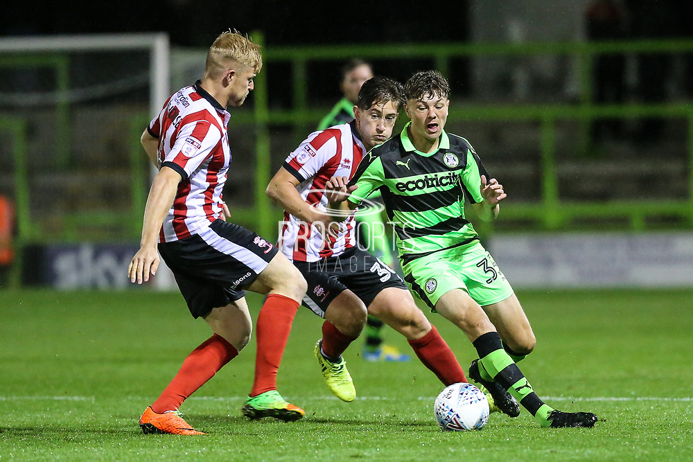 Forest Green Rovers Jordan Stevens(35) on the ball during the EFL Sky Bet League 2 match between Forest Green Rovers and Lincoln City at the New Lawn, Forest Green, United Kingdom on 12 September 2017. Photo by Shane Healey.