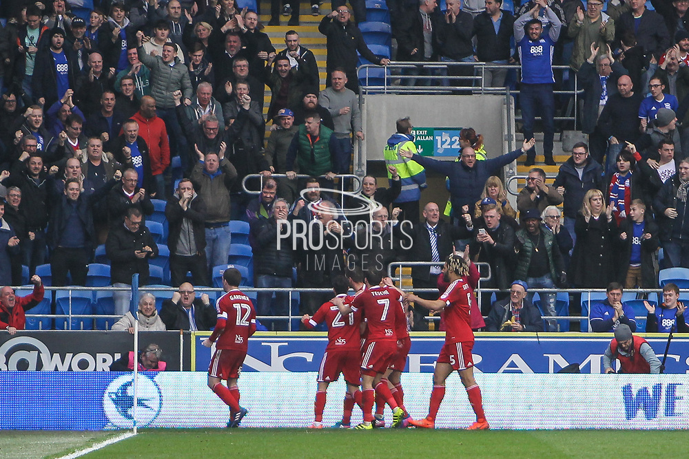 Birmingham City players celebrate their teams first goal, 1-1 during the EFL Sky Bet Championship match between Cardiff City and Birmingham City at the Cardiff City Stadium, Cardiff, Wales on 11 March 2017. Photo by Andrew Lewis.