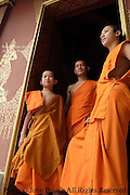 Buddhist monks and novices enjoy a relaxing afternoon at their temple in Luang Prabang, Laos, just a few days prior to the annual Lao New Year celebration.