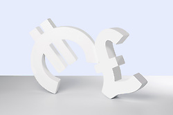 Euro and Pound signs on white background (Credit Image: © Image Source/Howard Bartrop/Image Source/ZUMAPRESS.com)