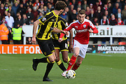 Barnsley forward Sam Winnall wins the ball in midfield during the Sky Bet League 1 match between Burton Albion and Barnsley at the Pirelli Stadium, Burton upon Trent, England on 16 April 2016. Photo by Aaron  Lupton.
