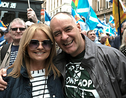 All Under One Banner Independence March, Glasgow, Saturday 4th May 2019<br /> <br /> Pictured: Tommy Sheridan and wife Gail<br /> <br /> Alex Todd | Edinburgh Elite media