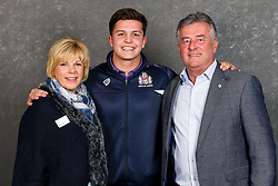 Callum Sheedy of Bristol Rugby poses with his sponsors during the Bristol Sport player sponsor evening - Rogan/JMP - 19/03/2018 - SPORT - Ashton Gate Stadium - Bristol, England - Big Sports Breakfast 2017.