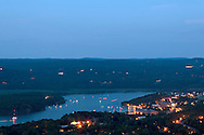 West Point, New York - Boats gather in the Hudson River to watch the fireworks over the U.S. Military Academy at the end of the West Point Band's Fourth of July Celebration Concert on July 8, 2012. The photograph was taken from the Route 9W overlook.